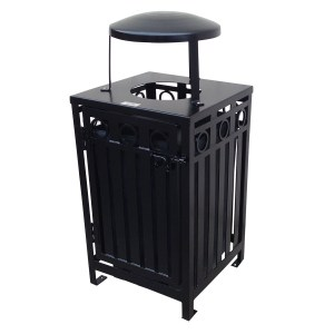 Square Iron Valley Trash Receptacle
